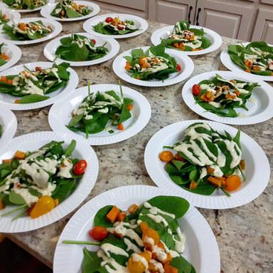 Spinach | sweet potatoes | lemon dressing