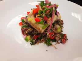 Redfish with warm quinoa salad
