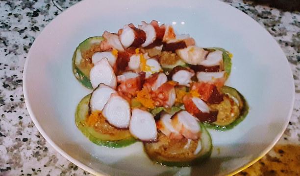 Seared Octopus | thai eggplant
