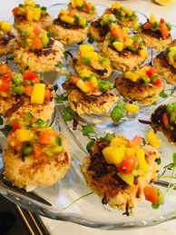 Mini crab cakes, mango relish
