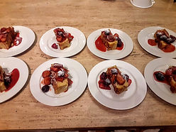 Bread Pudding with bourban fruit sauce