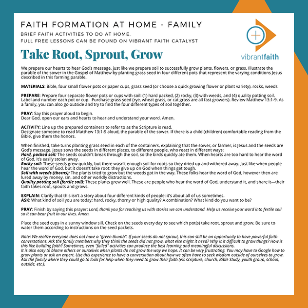 Take Root, Sprout, Grow - Vibrant Faith