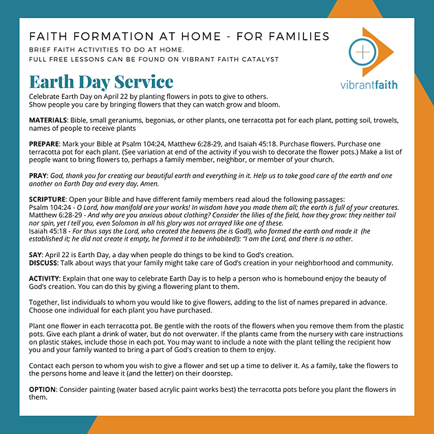 Earth Day Service - Vibrant Faith at Hom
