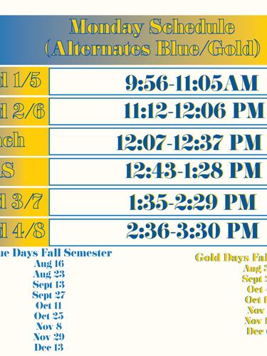 Monday Schedule (Alternating)