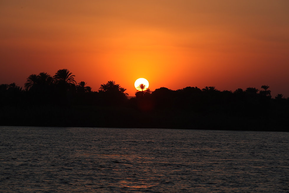 sunset on the nile in upper egypt