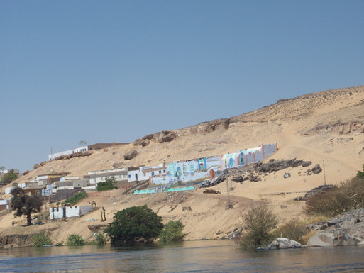 Nubian Village view from the Nile, Aswan.