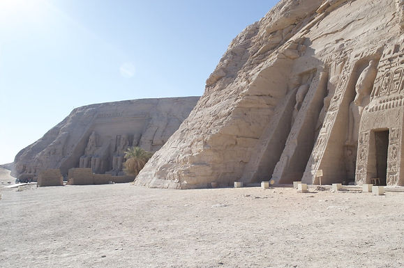 A view of both temples of Abu Simbel. The small temple of Queen Nefertari & the great temple of Ramses the Second.