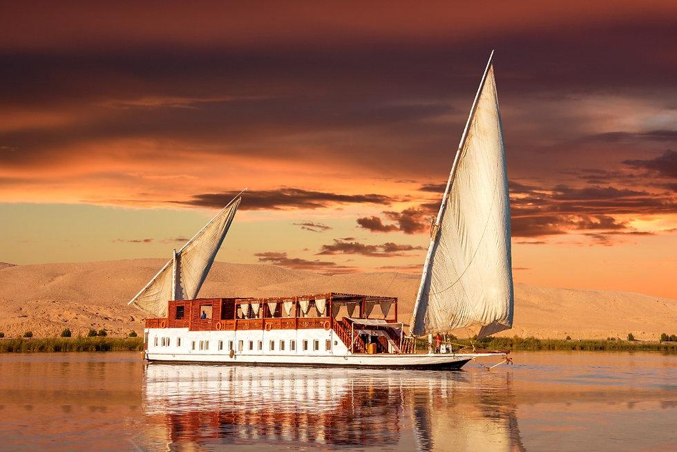 Dahabya on the Nile. Eco freindly Dahabya with solar power system and water purification.