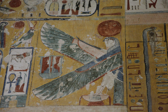 Valley of The Kings tombs has well preserved colors. These wall carvings and colors are about 3500 years old.
