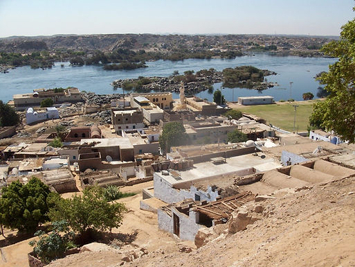 A view from hill top looking down on a Nubian Village on the west bank of Aswan.