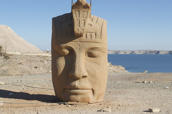 The Temples of Abu Simbel had been saved from the rising waters of Lake Nasser in the 1960s by an international effort lead by UNESCO. This is a picture of the sculpture of Ramses The Second colossal statue cut to pieces and reassembled in the new site.