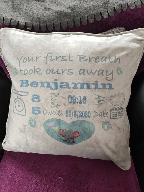 Personalised new baby announcement cushion cover