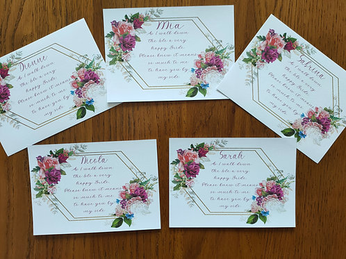 Personalised thank you cards for bridal party