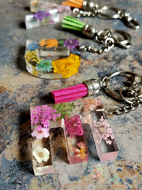 Initial Letter Key Rings made with Real Flowers