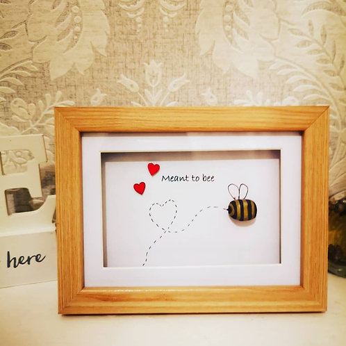 Meant to bee, pebble art frame