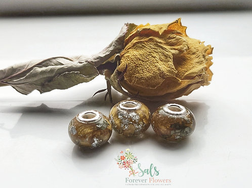 Flower Preservation Charm Beads to fit a Pandora Bracelet