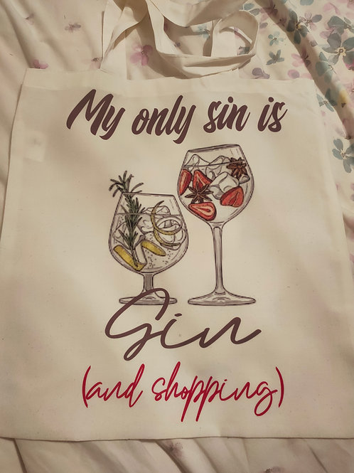 My only sin is gin tote bag shopping bag