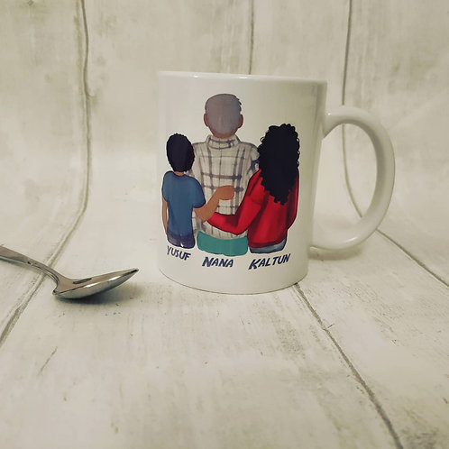 Personalised mug with figures and wording of choice
