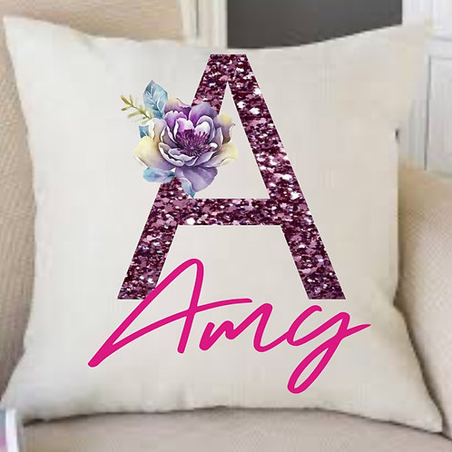 Personalised linen initial cushion 45x45 cm