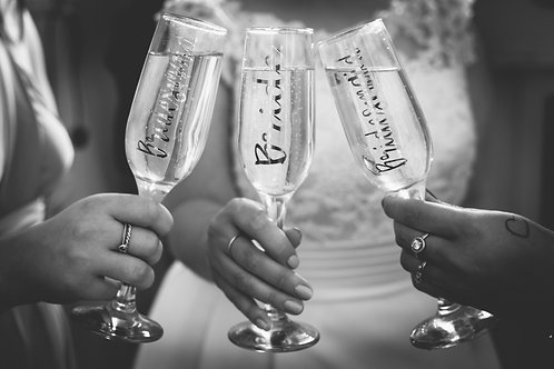 Personalised champagne flutes, wedding, bridesmaid, birthday gifts