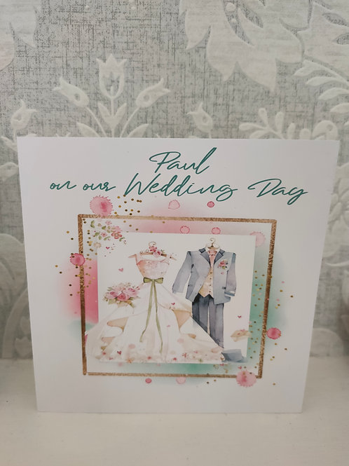 Personalised To My HusbandOn Our Wedding Day Greetings Card