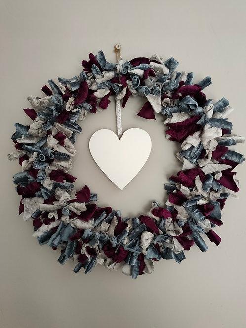 Handmade Velvet Wreath with personalised heart
