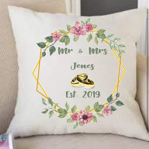 Mr & Mrs est in personalised cushion gift