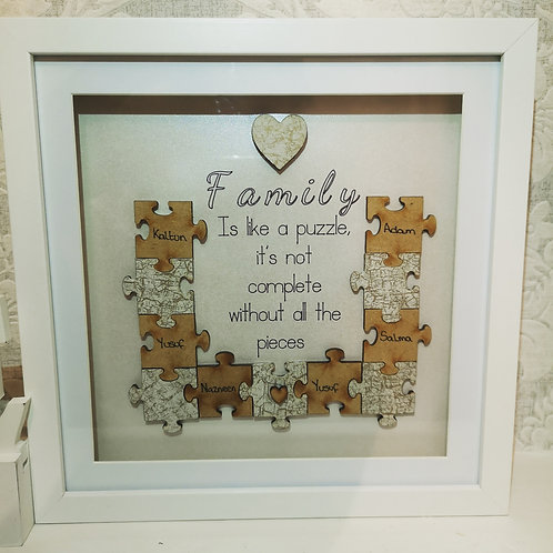 Personalised puzzle family frame