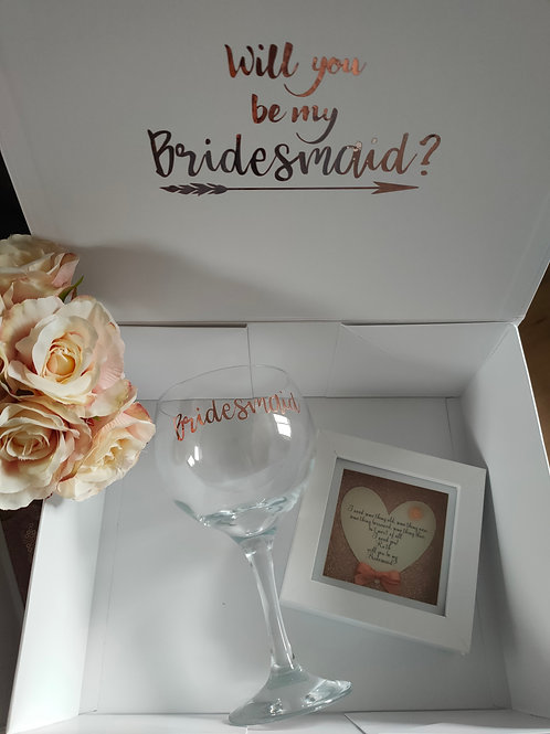Personalised Bridesmaid Proposal Gift Box with Framed Poem and Glass