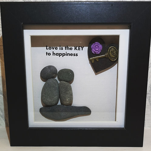 Love is the key to happiness mini pebble art frame