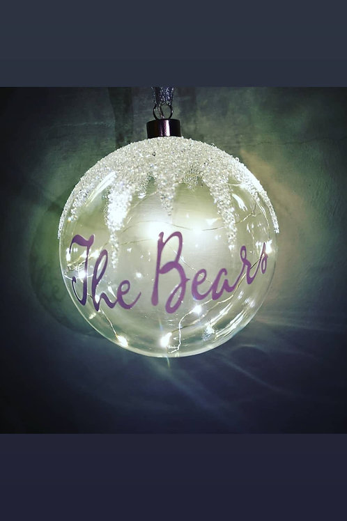Personalised giant light up glass baubal