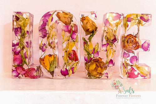 Large Freestanding LOVE Flowers preserved in resin