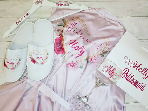 Package, Personalised robe, slippers, hanger, bag and glass set for bridal party