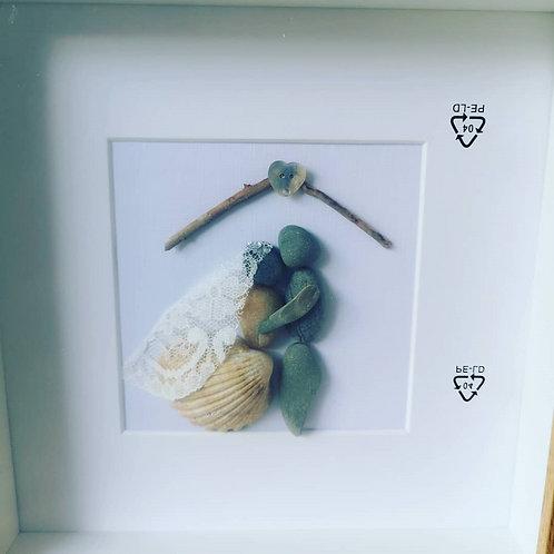 Wedding Pebble Art Frame