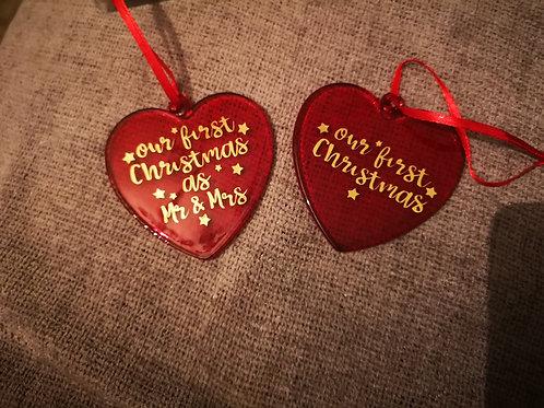 Glass heart decorations