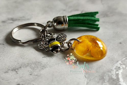 Sliver Bee Collection, Real Buttercup Keyring with silver Bee charm