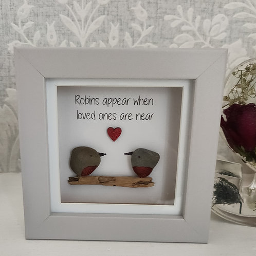 Robins appear when loved ones are near pebble art picture frame