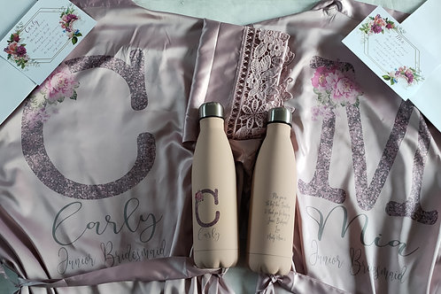 Bridal gift Package including robe, flask, thank you card and gift bag