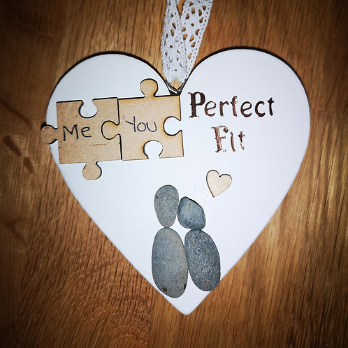 Perfect fit puzzle pebble art heart plaque