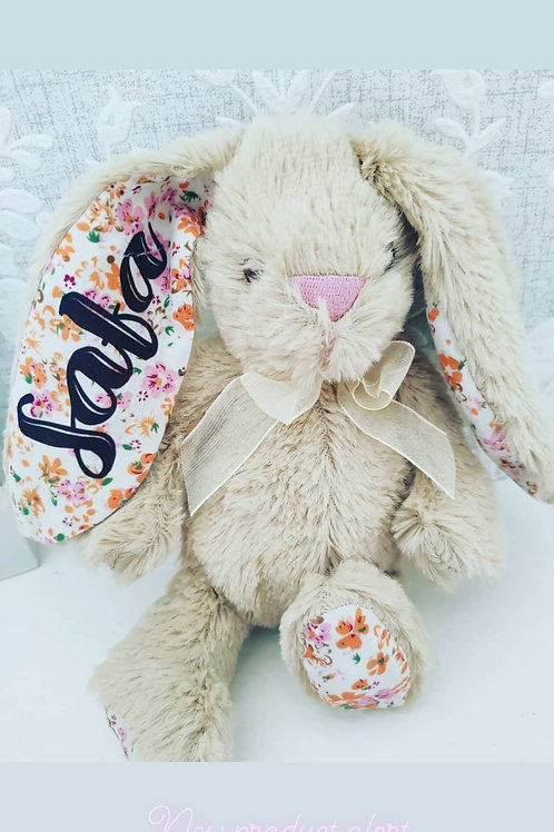 Personalised bunny soft toy teddy, Easter christening new baby flower girl gift