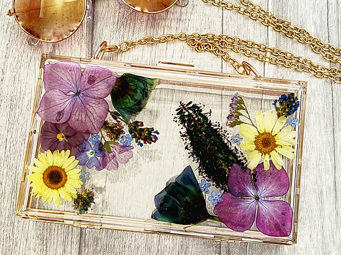 Summer Collection Flower Clutch Bag made with real flowers