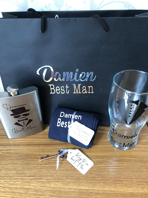 Personalised Groomsman,Best Man, Father of the Bride/Groom Gift set