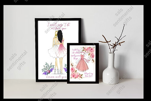 Personalised bridesmaid, flower girl, maid of honor proposal prints