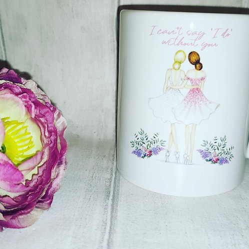 Personalised bridesmaid, maid of honour, flower girl mugs