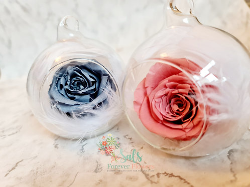 Everlasting real rose in a glass bauble