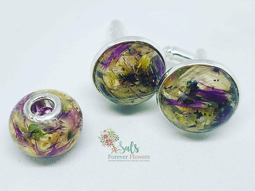 Flower PreservationBead Charm andCuff Links set
