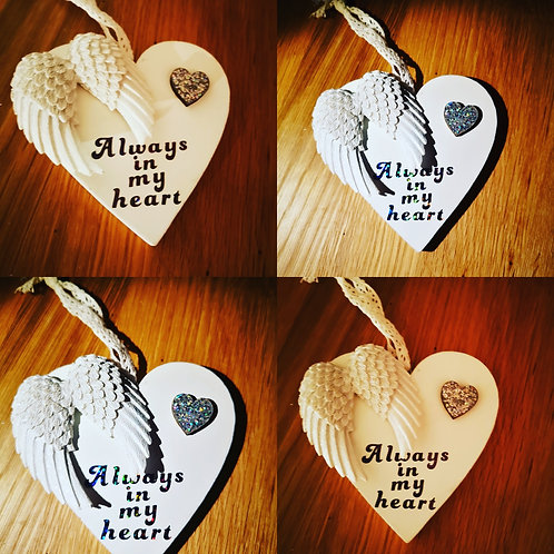 Angel wings heart plaque