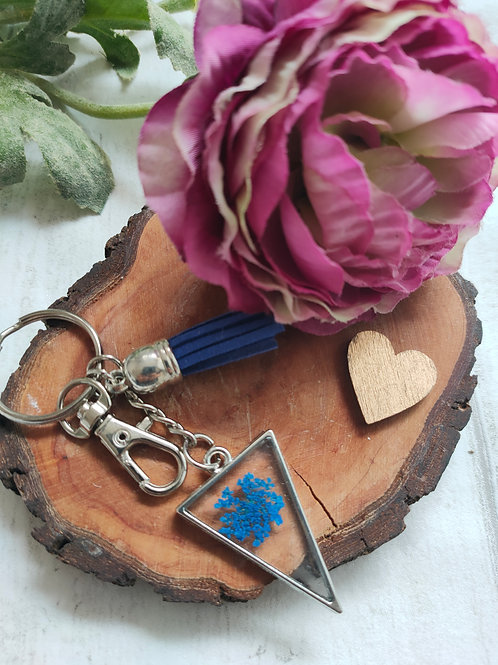 Dried flower key ring