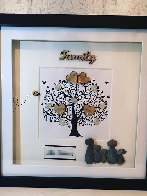 Large Family Tree with Pebble People