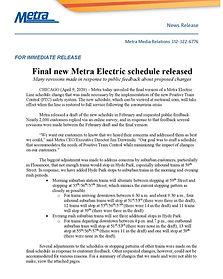Metra Electric PTC Schedule News Release
